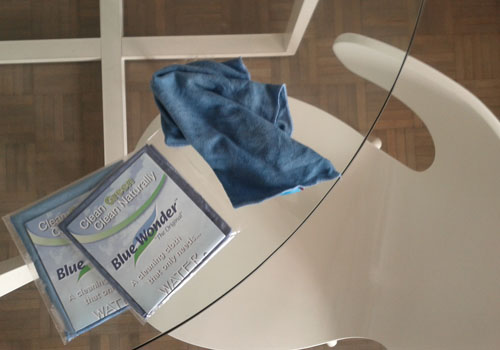 Clean glass with ease using blue wonder cloths