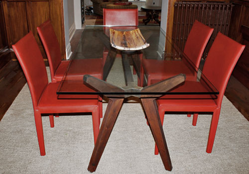 Strut table and Folio Chairs