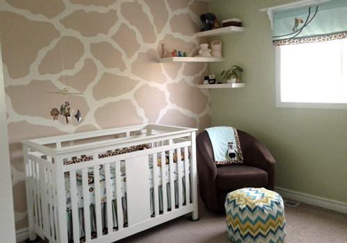 Safari Nursery features giraffe spot wall